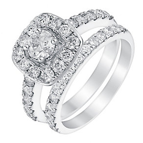 Platinum 1.5ct cushion halo diamond bridal set - Product number 3395065