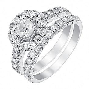 Platinum 1.5ct round halo diamond bridal set - Product number 3395448