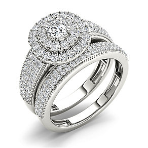 18ct white gold 1ct double halo cushion diamond bridal set - Product number 3395596