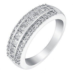 18ct white gold 1ct round and princess cut diamond band - Product number 3396177