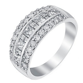 18ct white gold 1ct princess and round cut diamond band - Product number 3396312
