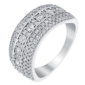 18ct white gold one carat round cut diamond band - Product number 3396843
