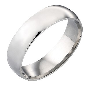 9ct White Gold 6mm Plain Ring
