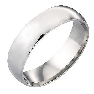 9ct White Gold 6mm Plain Ring