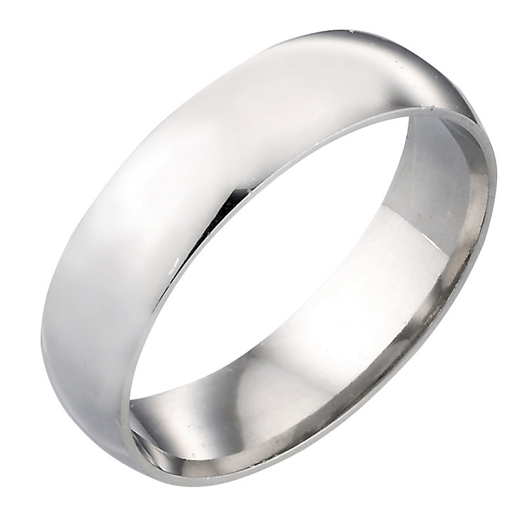 9ct White Gold 6mm Plain Ring - Product number 3399311