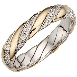 Bride's 9ct Two-colour Gold 4mm Wedding Band