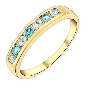 9ct Yellow Gold Blue Topaz & Cubic Zirconia Eternity Ring - Product number 3405885