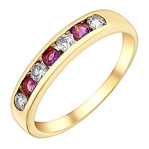 9ct Yellow Gold Amethyst & Cubic Zirconia Eternity Ring - Product number 3406229