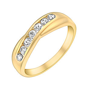 9ct Yellow Gold & Cubic Zirconia Crossover Eternity Ring - Product number 3406377
