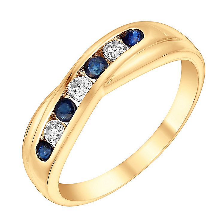 9ct Yellow Gold Sapphire & Cubic Zirconia Eternity Ring - Product number 3406539