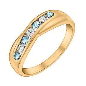 9ct Yellow Gold Blue Topaz & Cubic Zirconia Eternity Ring - Product number 3406822