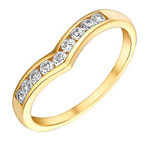 9ct Yellow Gold & Cubic Zirconia Wishbone Eternity Ring - Product number 3407403