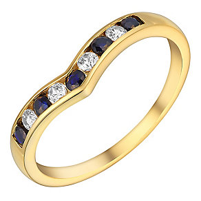 9ct Yellow Gold Cubic Zirconia & Sapphire Eternity Ring - Product number 3407578