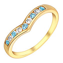 9ct Yellow Gold Cubic Zirconia & Blue Topaz Eternity Ring - Product number 3407799