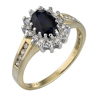 Diana Royal Engagement 18ct Gold Diamond & Sapphire Ring - Product number 3408086