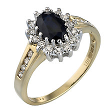 18ct Yellow Gold Diamond & Sapphire Ring - Product number 3408086