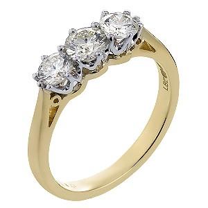 18ct Gold One Carat Diamond Trilogy Ring