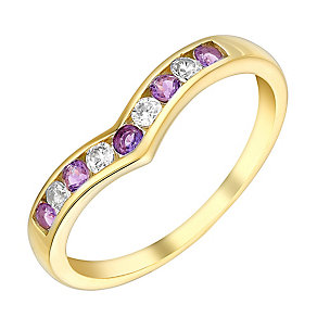 9ct Yellow Gold Cubic Zirconia & Amethyst Eternity Ring - Product number 3408469