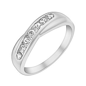 9ct White Gold & Cubic Zirconia Crossover Eternity Ring - Product number 3412008