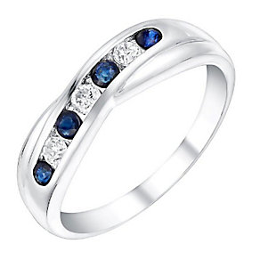 9ct White Gold Sapphire & Cubic Zirconia Eternity Ring - Product number 3412199