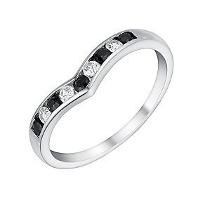 9ct White Gold Cubic Zirconia & Sapphire Eternity Ring - Product number 3412881