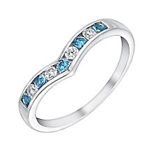 9ct White Gold Cubic Zirconia & Blue Topaz Eternity Ring - Product number 3413101