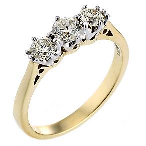 18ct Gold Three Quarter Carat Diamond Trilogy Ring - Product number 3414752