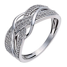 Sterling silver 20pt diamond crossover ring - Product number 3421058