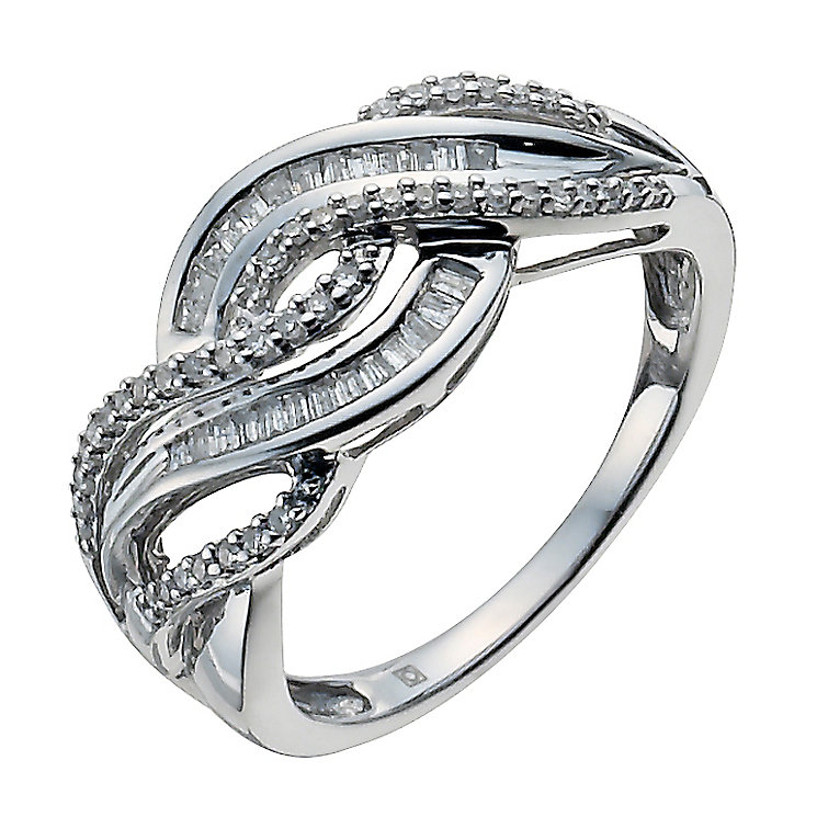 Sterling silver 25pt round & baguette cut diamond ring - Product number 3421228