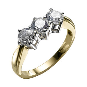 18ct gold one and a half carat three diamond ring - Product number 3425479