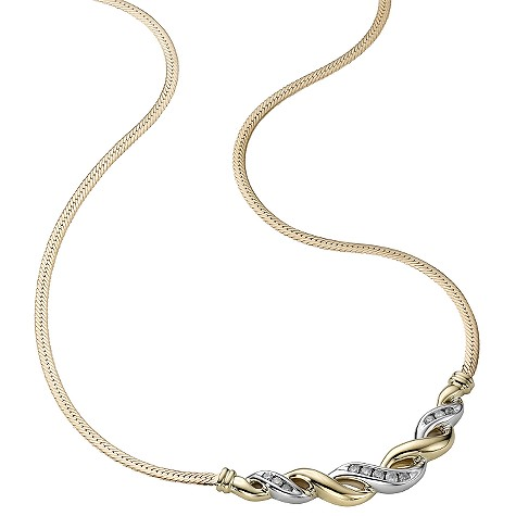 9ct two-colour gold fifth carat diamond necklace