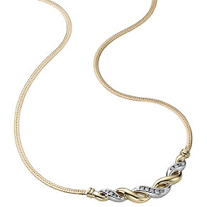 9ct two-colour gold fifth carat diamond necklace - Product number 3426017