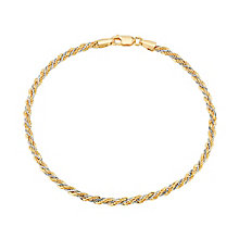 "9ct White and Rose Gold Twist Rope 7.5"" Bracelet - Product number 3426386"