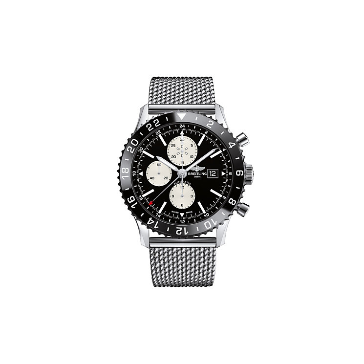 Breitling Chronoliner men's stainless steel bracelet watch