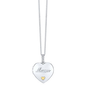 Sterling Silver & 9ct Gold Cubic Zirconia Set Mum Locket - Product number 3427250