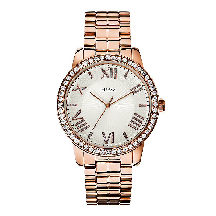 Guess Ladies' Crystal Set Rose Gold Plated Bracelet Watch - Product number 3427331
