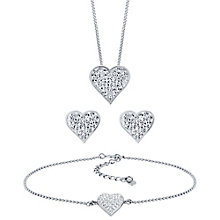 Evoke Silver Crystal Heart Earrings, Pendant & Bracelet Set - Product number 3427358