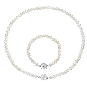 Silver Cultured Freshwater Pearl Crystal Necklace & Bracelet - Product number 3427404