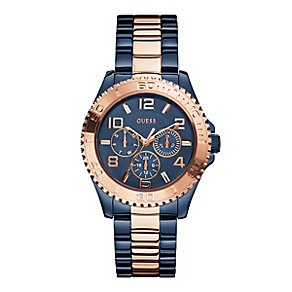 Guess Ladies Blue & Rose Gold Plated Bracelet Watch - Product number 3427536