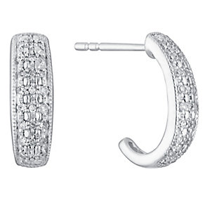 9ct White Gold 0.15ct Diamond Hoop Earrings - Product number 3427552