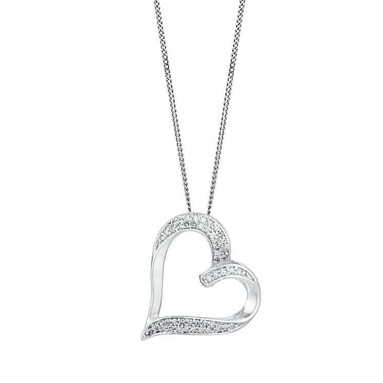 9ct White Gold 0.15ct Diamond Heart Pendant - Product number 3427617