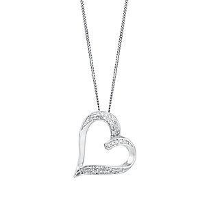 9ct white gold 15pt diamond pendant - Product number 3427617