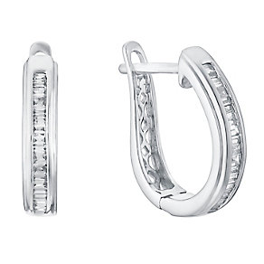 9ct white gold 20pt channel set diamond hoop earrings - Product number 3427714