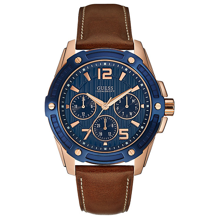 Guess Men's Rose Gold Tone & Brown Leather Strap Watch - Product number 3427749