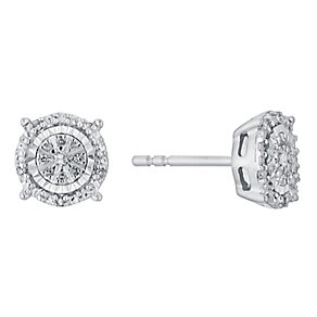 9ct white gold diamond earrings - Product number 3427846
