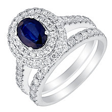 18ct white gold 1ct diamond & oval cut sapphire bridal set - Product number 3427994