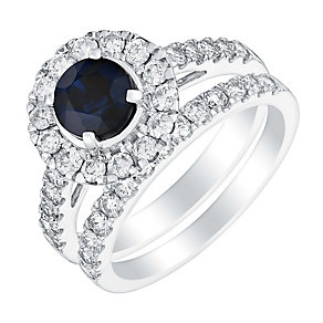 18ct white gold 1ct diamond &  sapphire bridal set - Product number 3428419