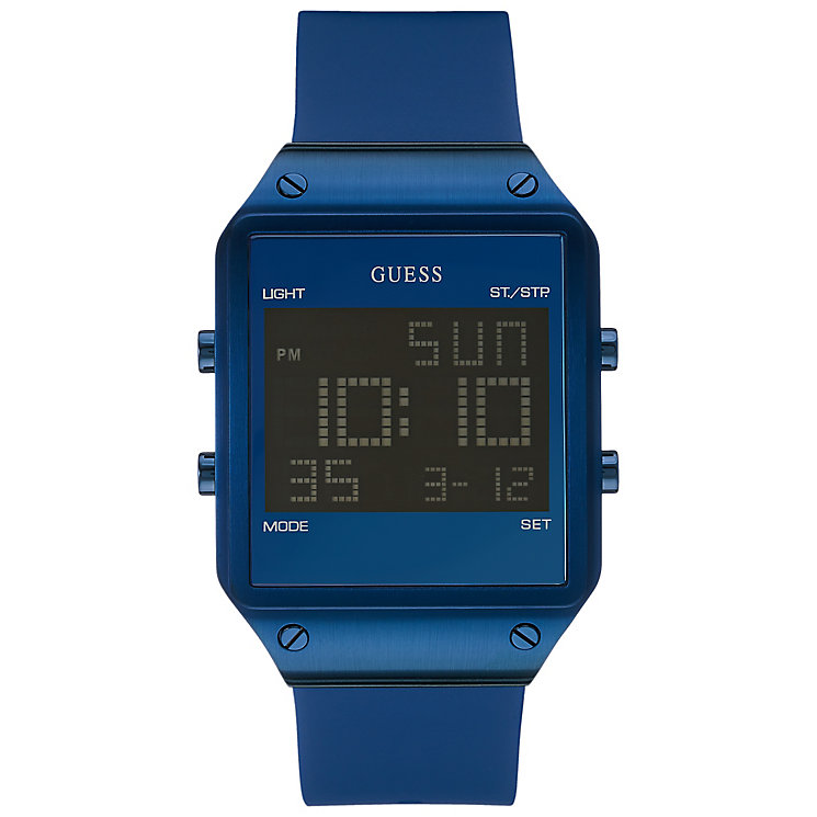Guess Men's Navy Blue Silicone Strap Digital Watch - Product number 3428737
