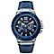 Guess Men's Stainless Steel & Blue Leather Strap Watch - Product number 3428745