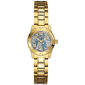 Guess Ladies' Yellow Gold Tone Blue Snakeskin Dial Watch - Product number 3429008